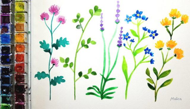 Bunte Blumenwiese Aquarellmalerei