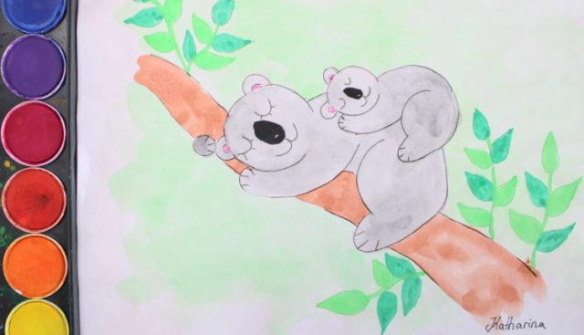 Koala Bär mit dem Baby schläft auf dem Baum Zeichnung