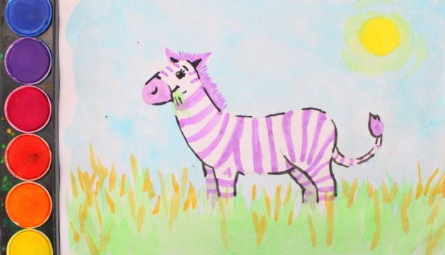 Das bunte Zebra Wasserfarbe Malvorlage