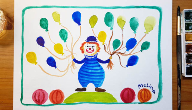 Zirkus Clown malen Anleitung in Aquarell