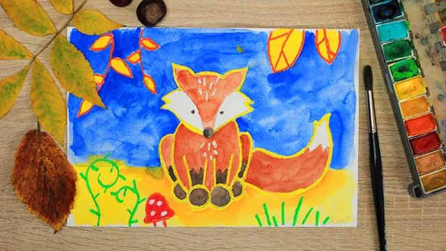 Fuchs malen in Aquarell für Kinder