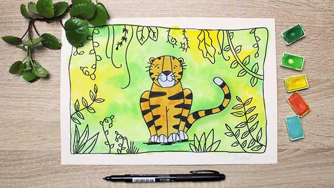 Tiger malen online Videokurs