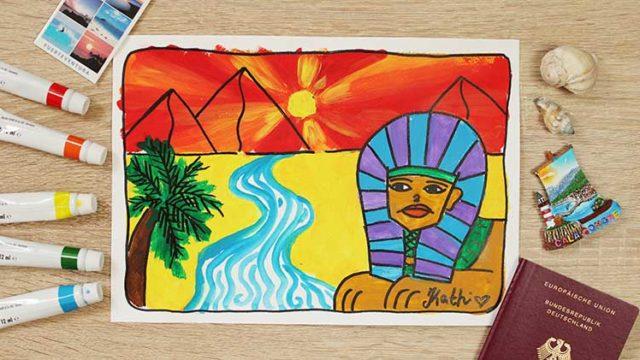 Pyramiden und Sphinx malen online Videokurs für Kinder ab 6