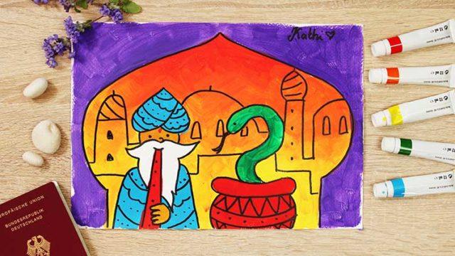 Indische Schlange malen online Videokurs für Kinder ab 6