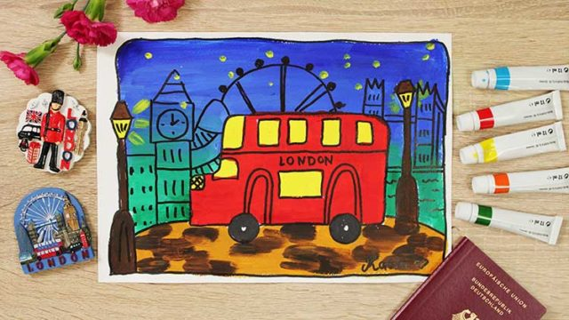London Doppeldeckerbus malen online Videokurs für Kinder ab 6