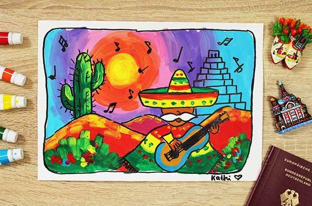 Mexiko malen online Videokurs für Kinder ab 6